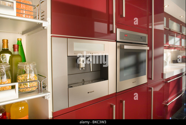 Interior New Cupboards kitchen cupboards stock photos images new coffee maker oven image