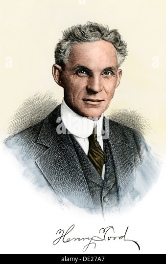 Henry Ford Portrait With Autograph