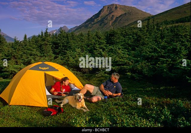 Couple Tent C&ing w/Dog Chugach SP SC AK Summer - Stock Image & Dog Tent Stock Photos u0026 Dog Tent Stock Images - Alamy