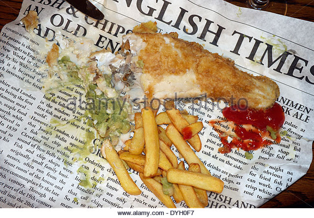 Cod and chips stock photos cod and chips stock images for Fish and chips newspaper