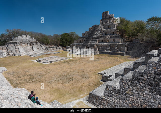 Archaeological site of Edzna , Yucatan Peninsula , Campeche , Mexico , Maya Civilization - Stock Image