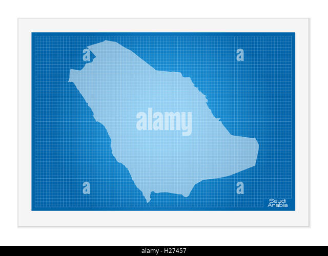 Saudi arabia map cut out stock images pictures alamy saudi arabia on blueprint on a white background stock image malvernweather Image collections