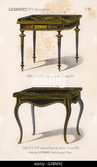 two french tables a jeu gaming tables in black wood with fillets of copper - Gaming Tables