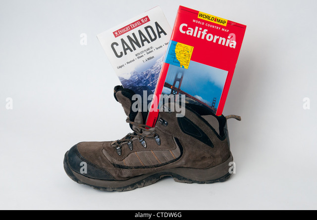 California maps stock photos california maps stock images alamy walking boot with canada and california maps stock image gumiabroncs Choice Image