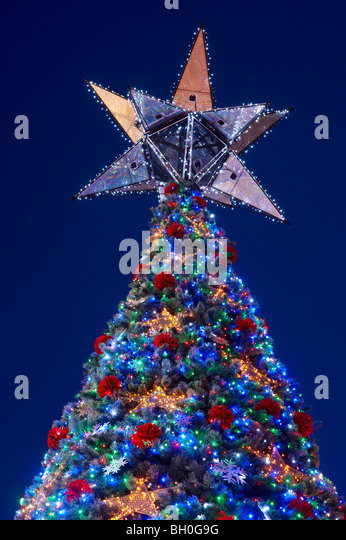 worlds largest solar powered christmas tree brisbane australia stock image
