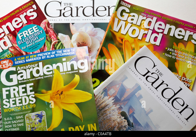 Selection Of Gardening Magazines On White Background   Stock Image