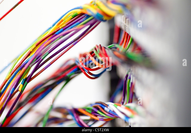 a loom of colourful electrical wires c5t2xw wiring harness stock photos & wiring harness stock images alamy Wire Harness Assembly at bakdesigns.co