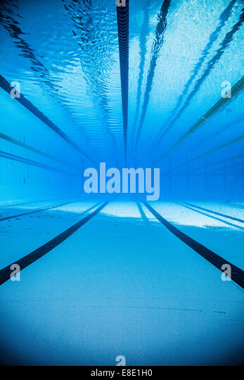empty 50m olympic outdoor pool and dividing lines from underwater stock image