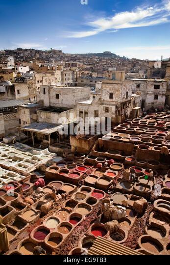 tannery medina fez fes el bali morocco barrio de los curtidores en la medina de fez