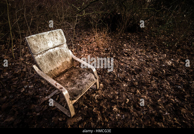 Old Chair In The Woods This Broken Rustic Was Found Autumn