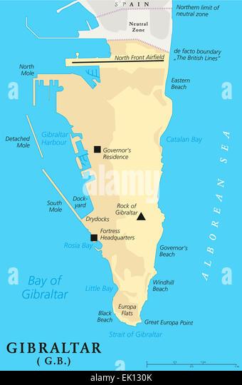 Strait Of Gibraltar Map Stock Photos Strait Of Gibraltar Map