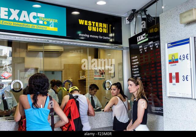 Western union money stock photos western union money for Oficina western union madrid