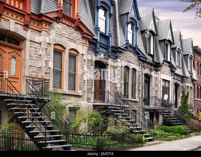 Row Of Old Historic Town Houses With French Style Architecture On Avenue Laval In Montreal