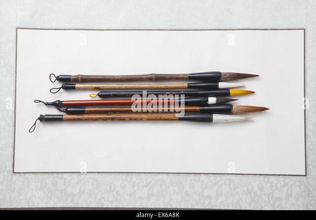 Calligraphy brush stock photos