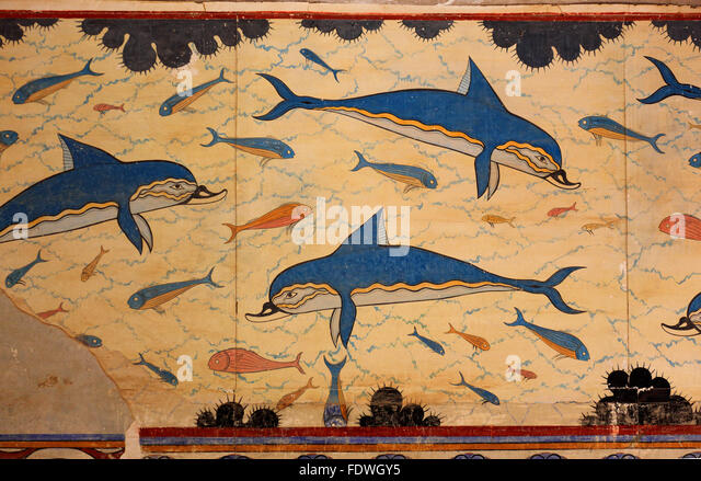 Knossos stock photos knossos stock images alamy for Dolphin mural knossos