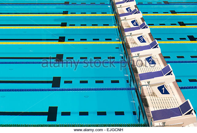 beautiful olympic sport competition swimming pool lanes in a clear transparent blue water facility stock - Olympic Swimming Pool Lanes