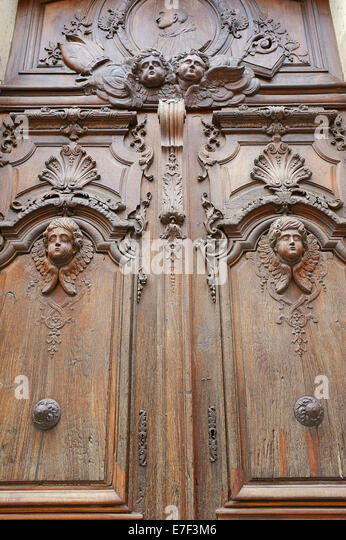 Wooden door with carvings Chapelle du Grand Couvent Church Cavaillon Vaucluse Provence & Carved Door Frame Stock Photos \u0026 Carved Door Frame Stock Images ...