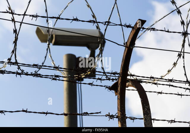 Security camera fence stock photos