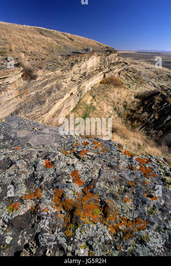 Buffalo jump, Ulm Pishkun State Park, Montana - Stock Image