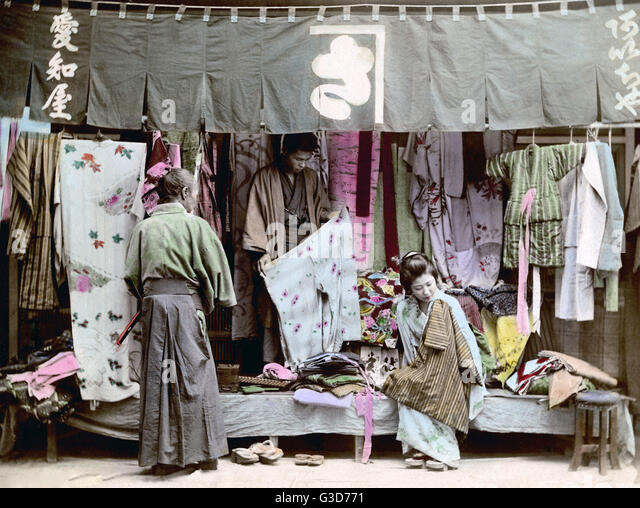 Cloth Store, Japan Circa Irca 1890.. Date: Circa 1890.   Stock