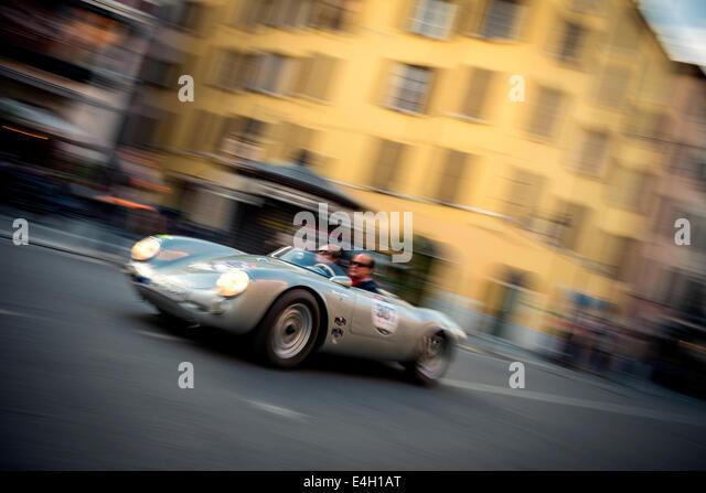 porsche 550 spyder rs at mille miglia classic car race brescia italy 2014