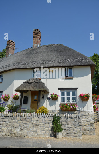 Modern Thatched Cottage Main Road Tolpuddle Dorset England United Kingdom
