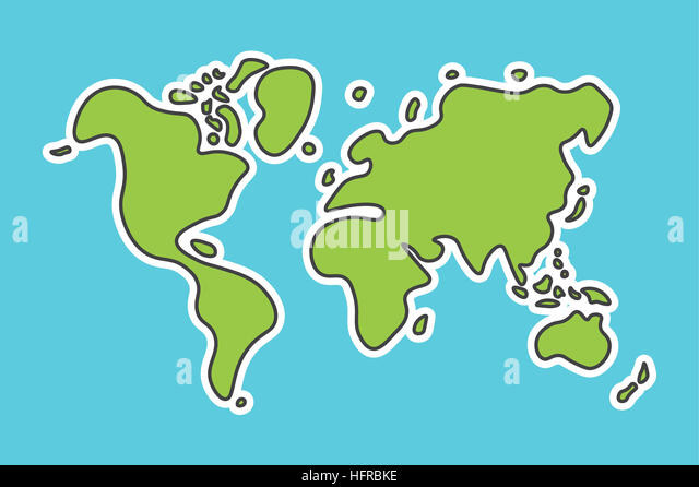 Simple world map outline stock photos simple world map outline doodle style world map look like children craft painting stock image gumiabroncs Gallery