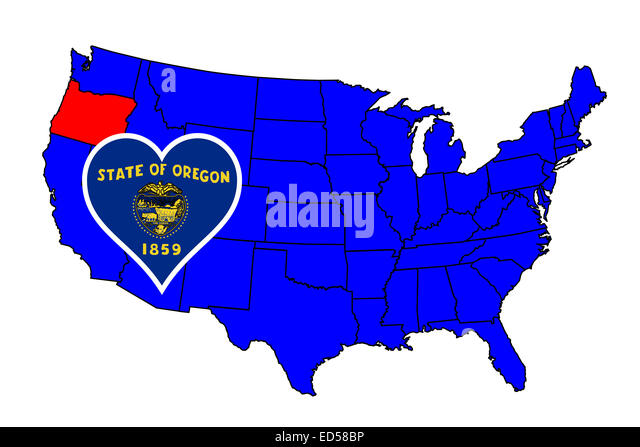 Oregon State Outline And Icon Inset Set Into A Map Of The United States Of America