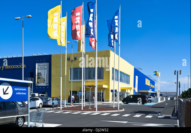 ikea superstore retail ikea car park flags and shop front entrance stock photo picture and. Black Bedroom Furniture Sets. Home Design Ideas