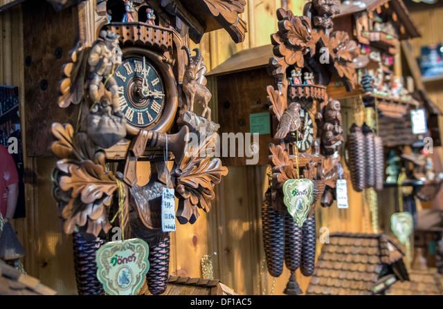 cuckoo clocks for sale rothenburg germany stock image