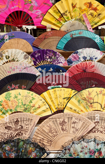 decorative fans on sale in jishan street market jiufen taiwan jmh5764 stock image - Decorative Fans