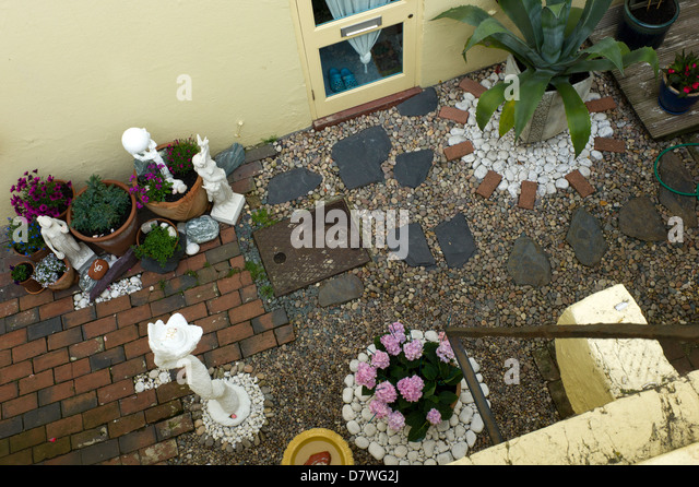 patio basement garden from above brighton uk stock image