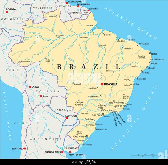 brazil political map stock image