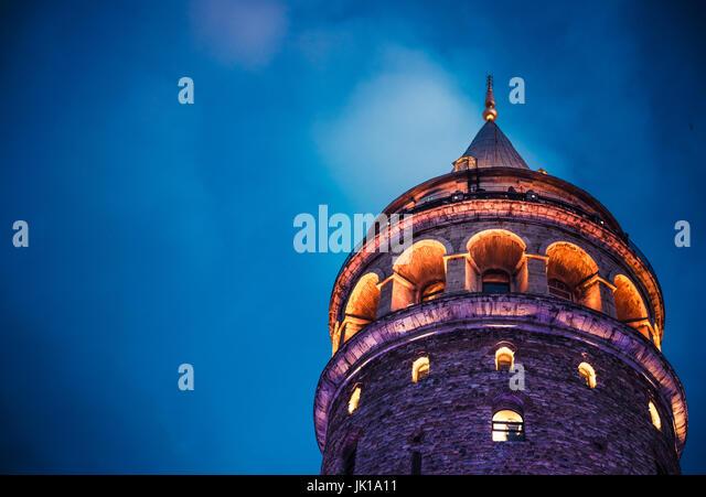 Night view over Galata Tower(Turkish: Galata Kulesi) (Galata Kulesih) Christea Turris is a medieval famous landmark - Stock Image