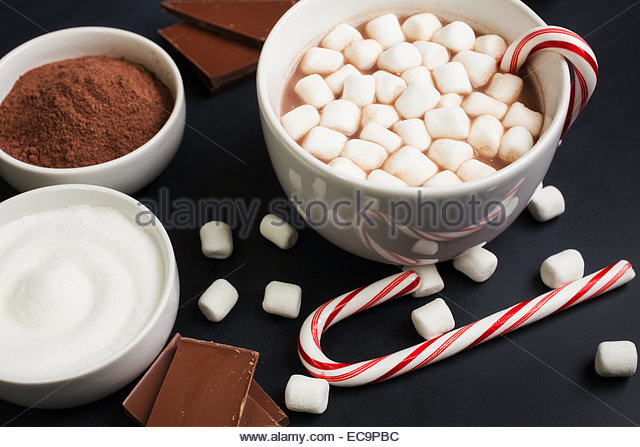 hot cocoa in white mug with candy cane and ingredients stock image