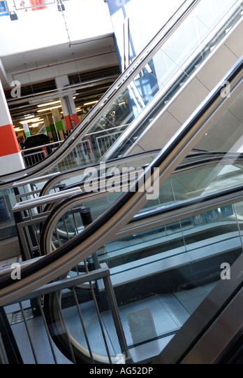 Escalator, Moving Staircase, Change Over Below A Shopping Centre   Stock  Image