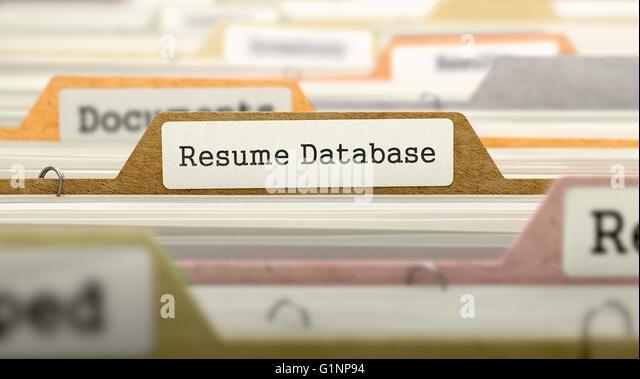 resume database concept folders in catalog stock image
