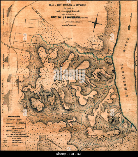 Plan Of Fort Donelson And Its Outworks Tennessee Usa Civil War February