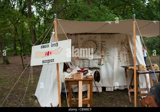 Tent of Owain Leech surgeon used for demonstration of old medical practices at Robin Hood & Surgical Tent Stock Photos u0026 Surgical Tent Stock Images - Alamy