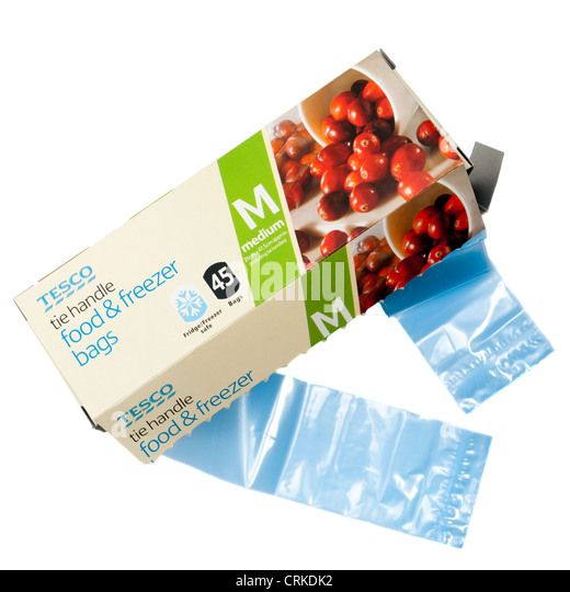 tesco own brand products food and plastic freezer bags stock image