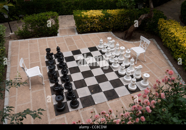 Garden Chess Set In Hotel Es Moli   Stock Image