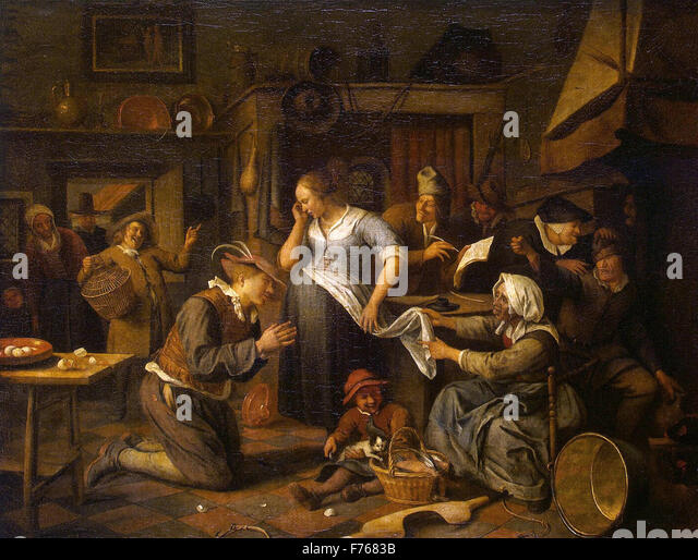 Art painting jan steen stock photos art painting jan for Artist mural contract
