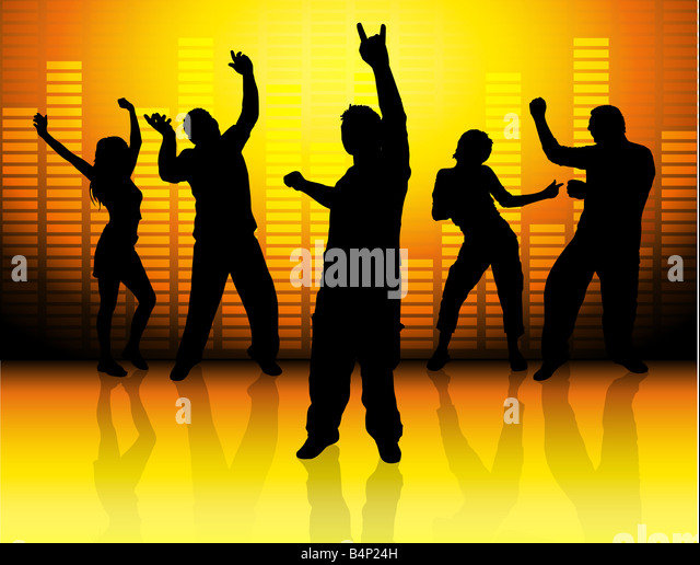 Silhouette Dance Music Abstract Background: Silhouettes People Dancing On Abstract Stock Photos