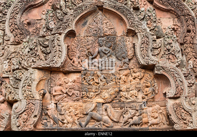 Bas relief in khmer hindu temple stock photos