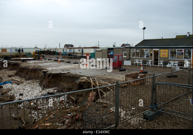 Coastal Erosion At Ulrome In Yorkshire Attacking A Mobile Home Park