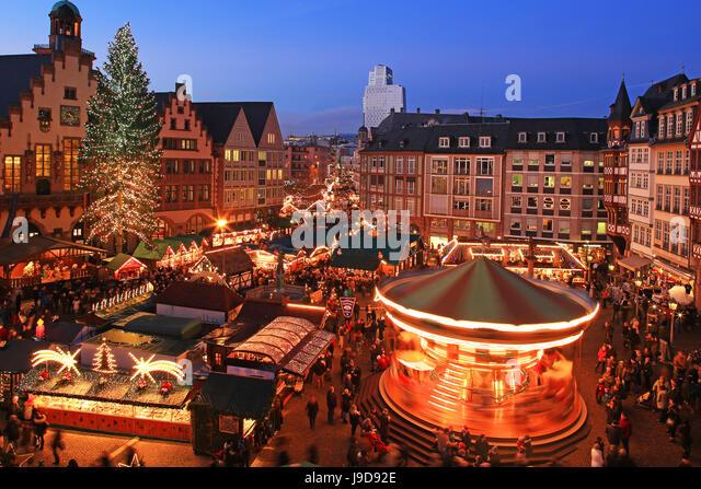 Christmas Fair on Roemerberg Square, Frankfurt am Main, Hesse, Germany, Europe - Stock Image