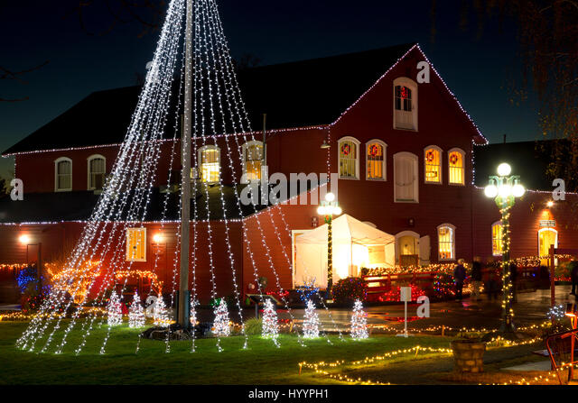 warehouse building with christmas lights willamette heritage center at the mill salem oregon