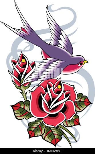 swallow heart tattoo emblem stock photos swallow heart. Black Bedroom Furniture Sets. Home Design Ideas