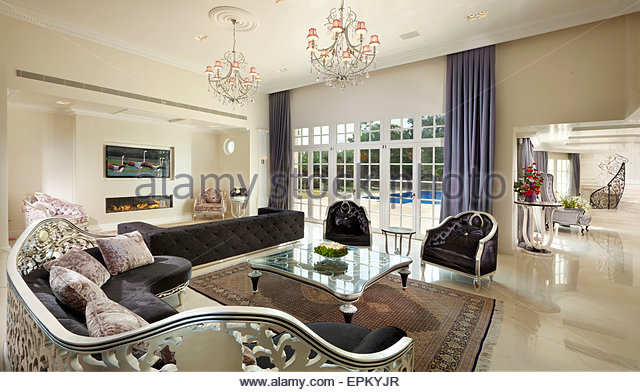 Stylish Living Rooms chandelier living rooms stock photos & chandelier living rooms