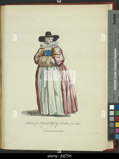 Habit of a citizen's wife of London in 1640. Une bourgeoise de Londres (NYPL b14140320-1638234) - Stock Image